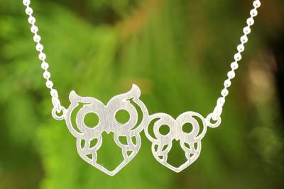"""NOVICA – Artisan Crafted Silver Owl Necklace, """"Perky Owls"""""""