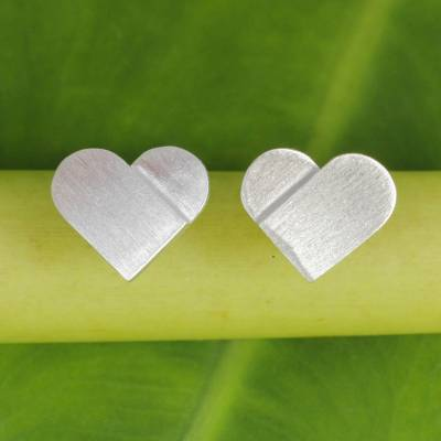 """NOVICA – Artisan Crafted Silver Heart Earrings with Brushed Finish, """"Full Heart"""""""