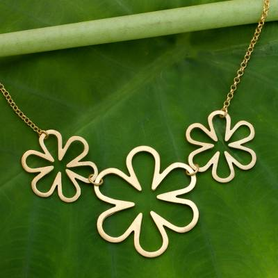 """NOVICA – Gold Vermeil Artisan Crafted Necklace Thai Floral Jewelry, """"Flower Power"""""""