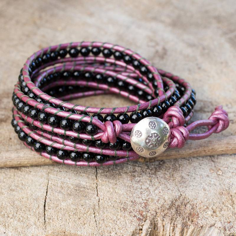"""NOVICA – Onyx and Leather Wrap Bracelet with Karen Hill Tribe Silver, """"Black Orchid Romance"""""""