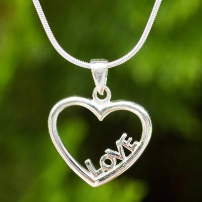 """NOVICA – Thai Artisan Crafted Sterling Silver Heart Necklace, """"Love in My Heart"""""""