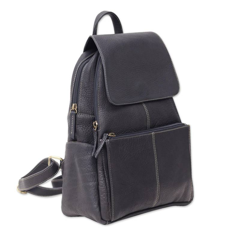 """NOVICA – Handcrafted Leather Backpack in Coal Black from Thailand, """"Everyday Traveler"""""""