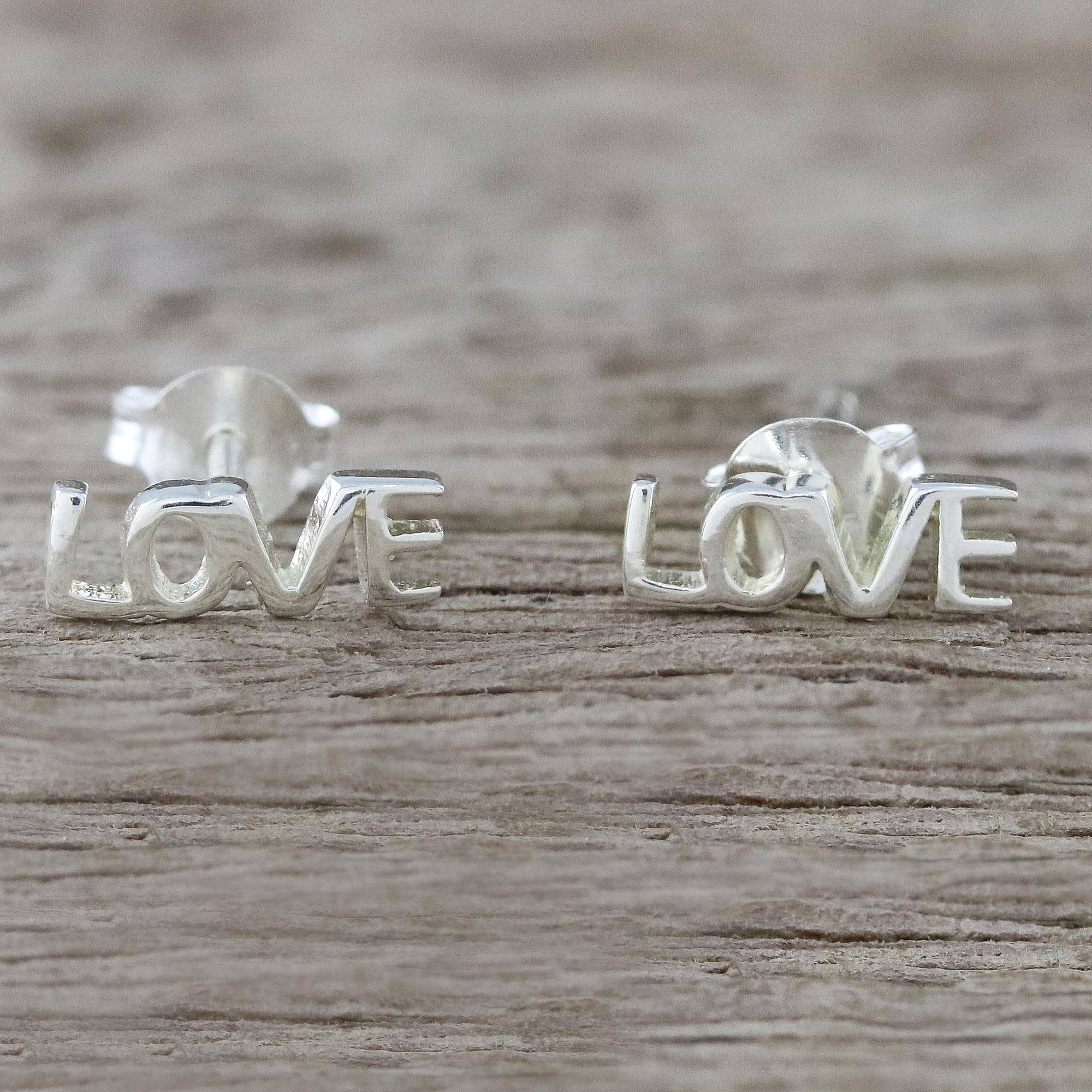 """NOVICA – Handcrafted Sterling Silver Love Stud Earrings from Thailand, """"Silver Love"""""""