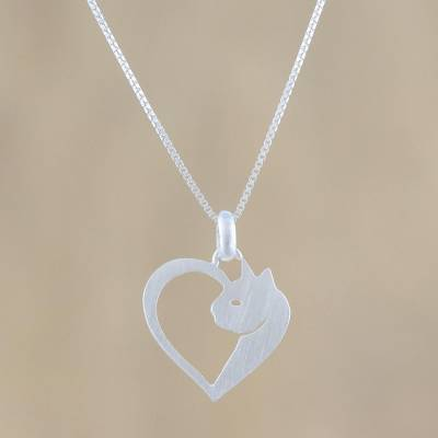 """Cat Heart Sterling Silver Pendant Necklace from Thailand, """"Soul of a Kitten"""""""