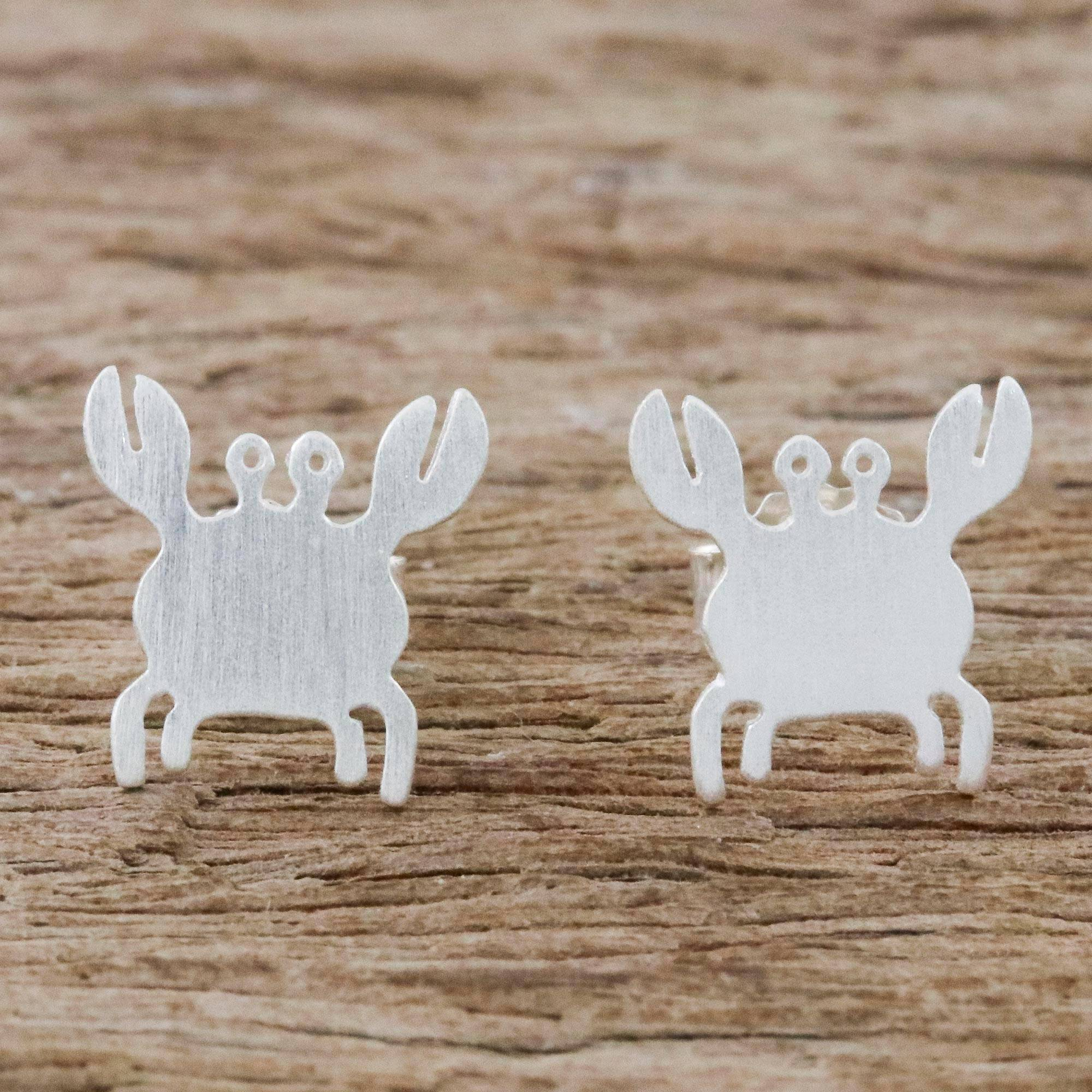 """NOVICA – Sterling Silver Crab Stud Earrings Handmade in Thailand, """"Little Crab"""""""