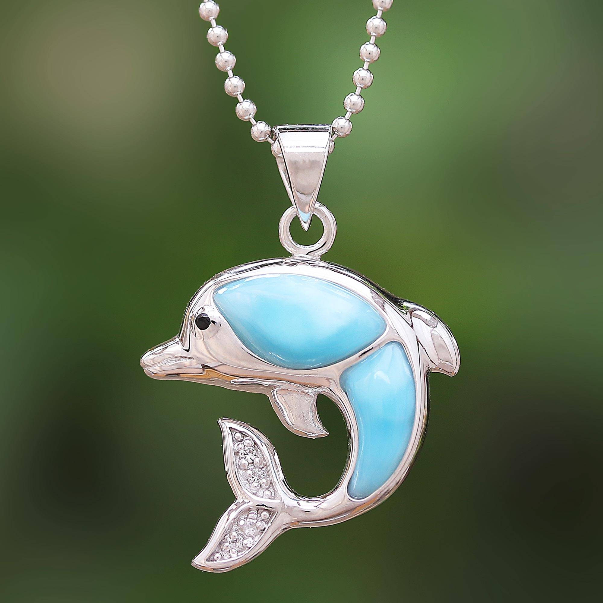 """NOVICA – Larimar and Sterling Silver Leaping Dolphin Pendant Necklace, """"Dolphin Leap"""""""
