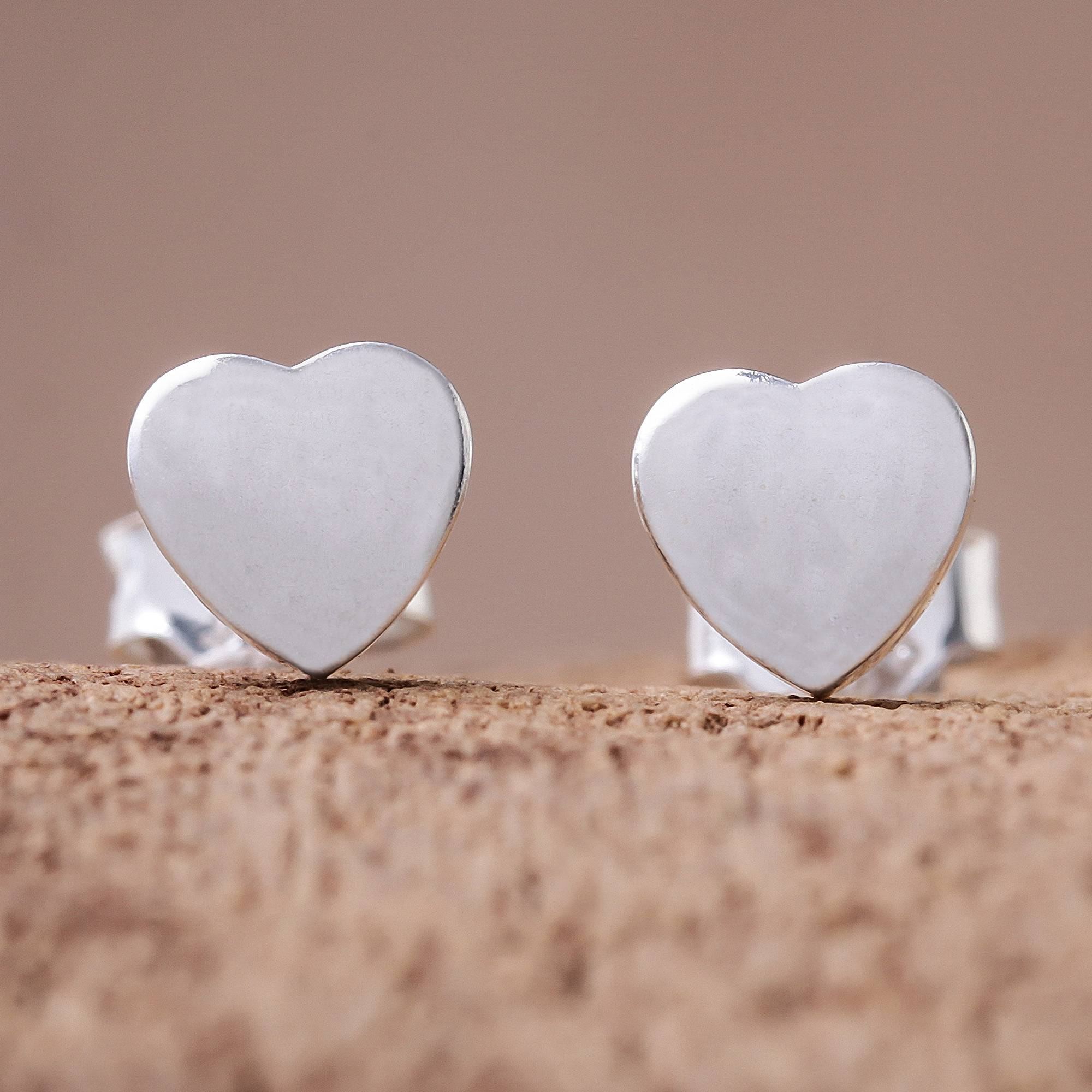 """NOVICA – Heart-Shaped Sterling Silver Stud Earrings from Thailand, """"Simple Hearts"""""""