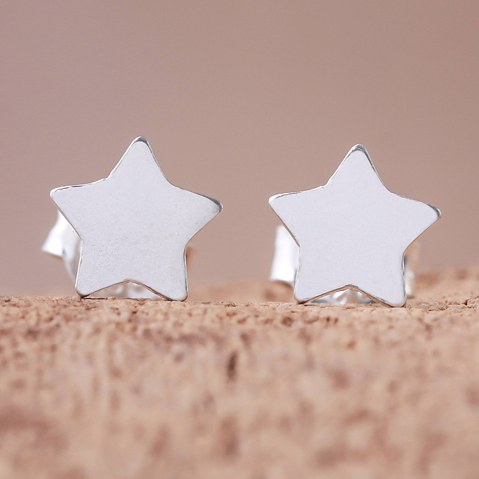 """NOVICA – Star-Shaped Sterling Silver Stud Earrings from Thailand, """"Simple Stars"""""""