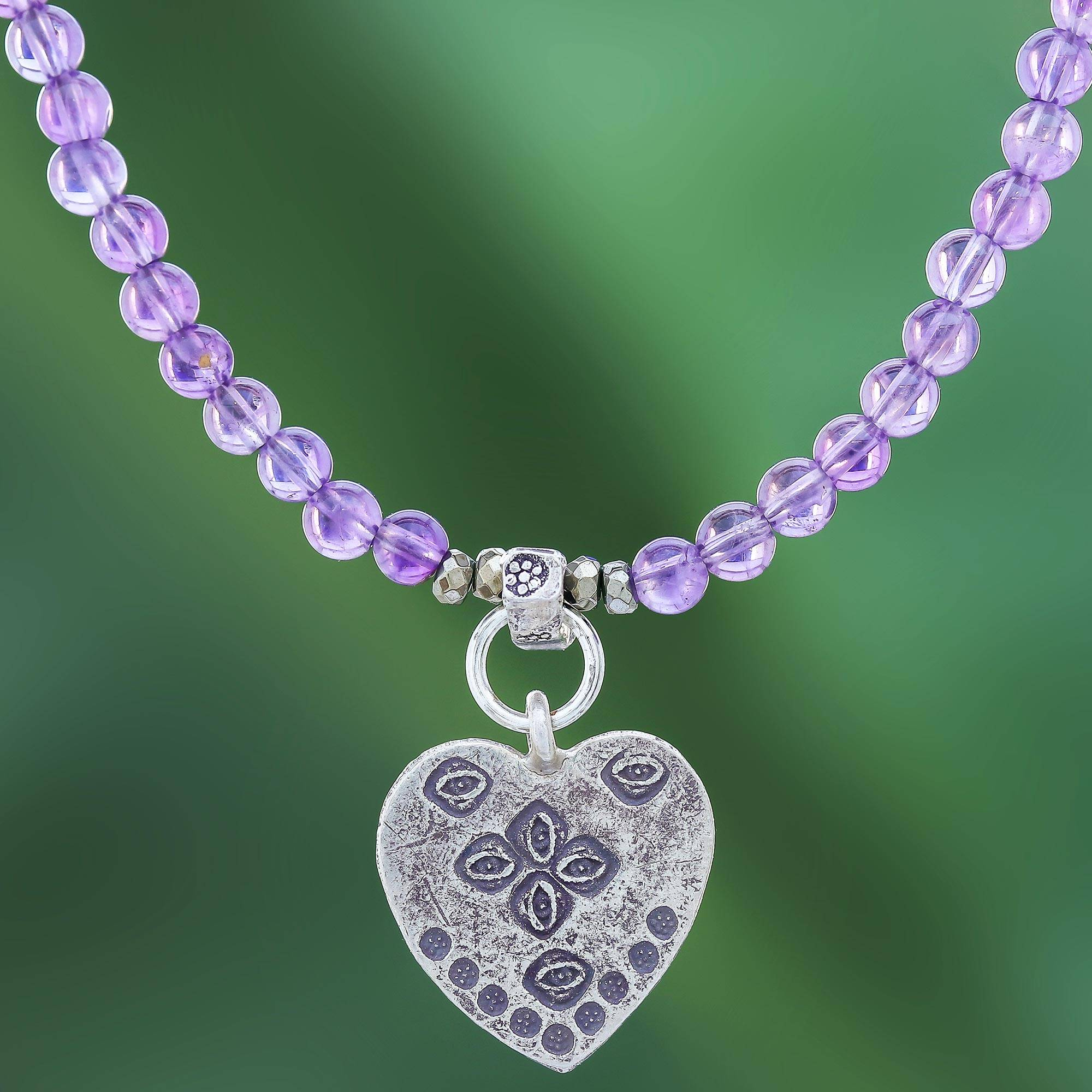 """NOVICA – 950 Silver Heart Pendant Necklace with Amethyst Beads, """"Emboldened Heart"""""""