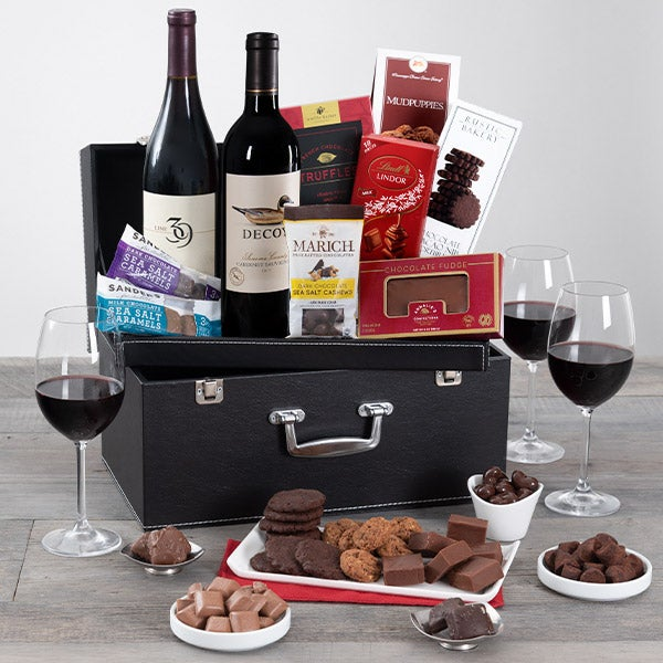 Gourmet Gift Baskets – Red Wine Duo & Chocolate Suitcase