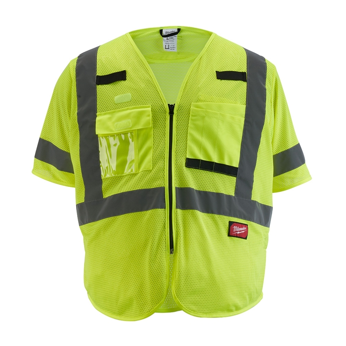 The Tool Nut – Milwaukee 48-73-513Y Class 3 High Visibility Yellow Mesh Safety Vest